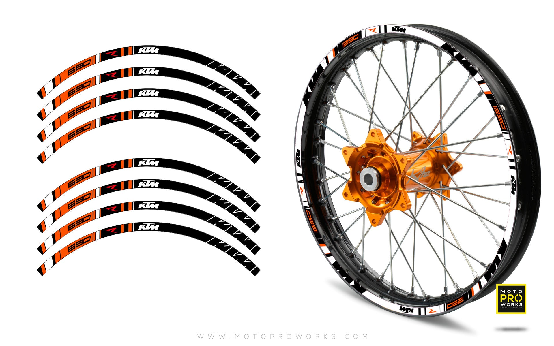 "Rim Stripes - ""TRACK R"" KTM (black) - MotoProWorks 