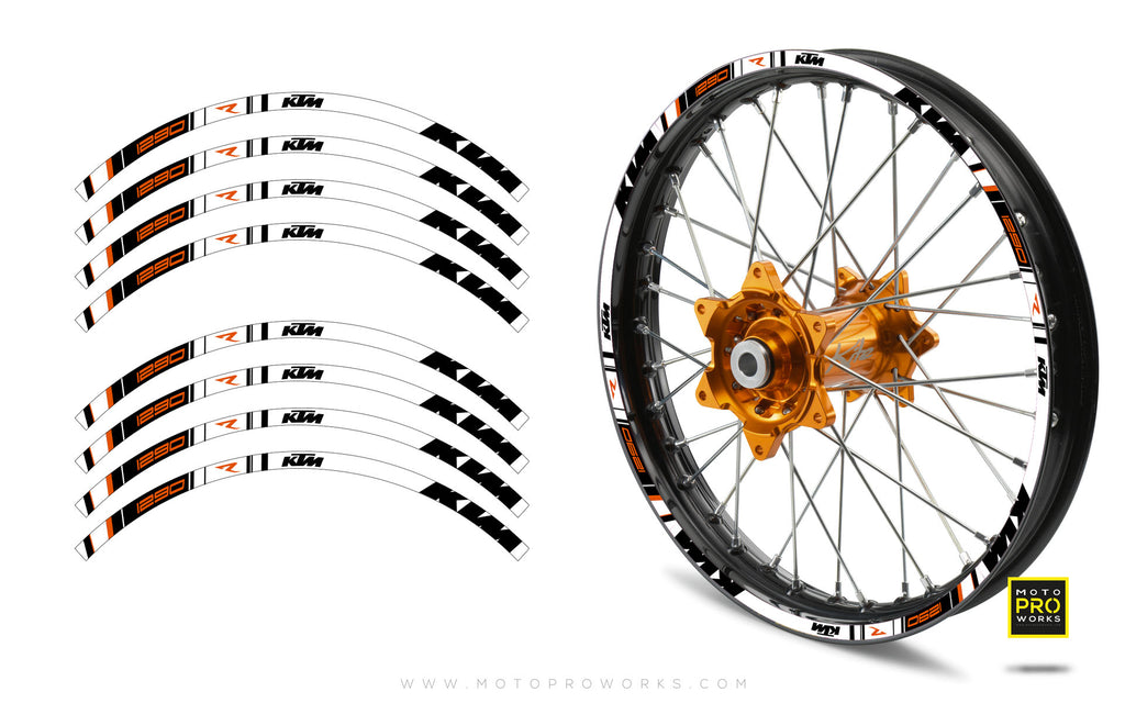 "Rim Stripes - ""TRACK"" KTM (white) - MotoProWorks 
