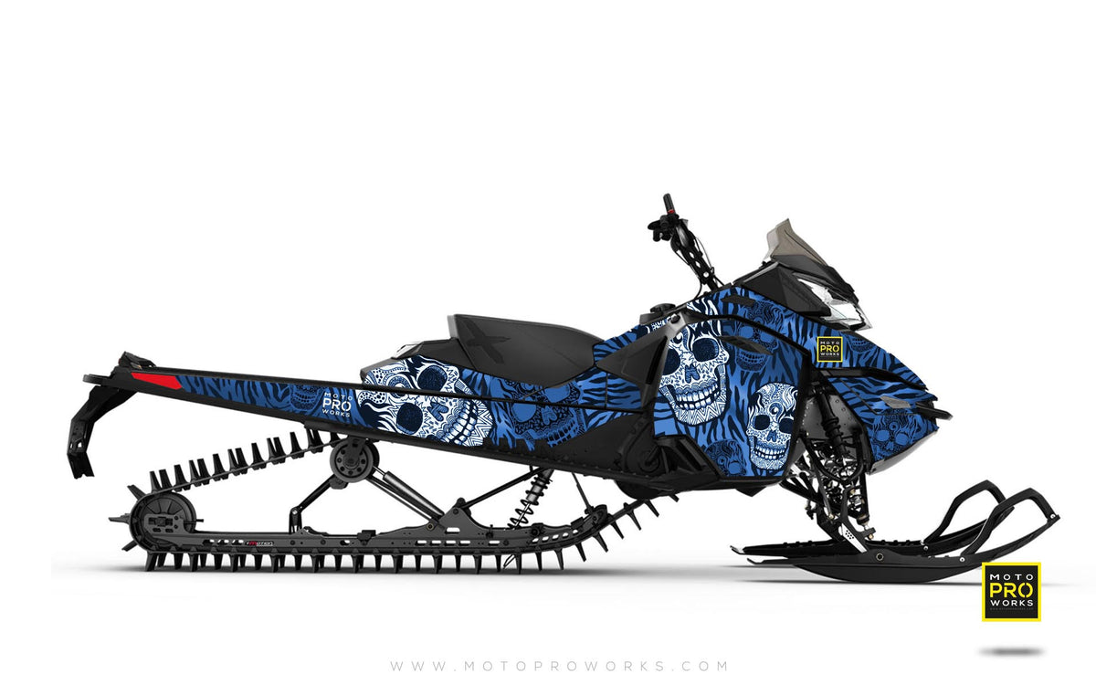"Ski-Doo Graphics - ""Fiesta"" (blue solid) - MotoProWorks 