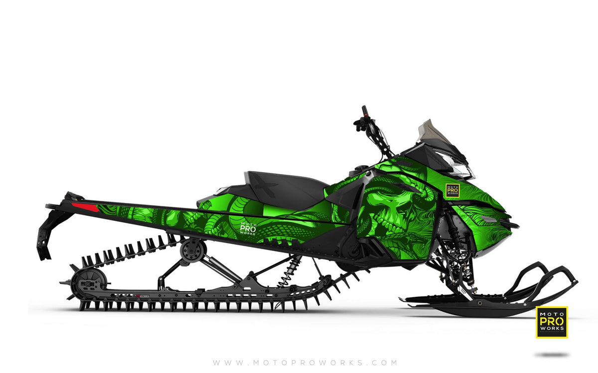 "Ski-Doo Graphics - ""Ssskully"" (green) - MotoProWorks 