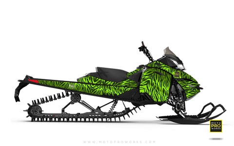"Ski-Doo Graphics - ""Stripey"" (solid green) - MotoProWorks 