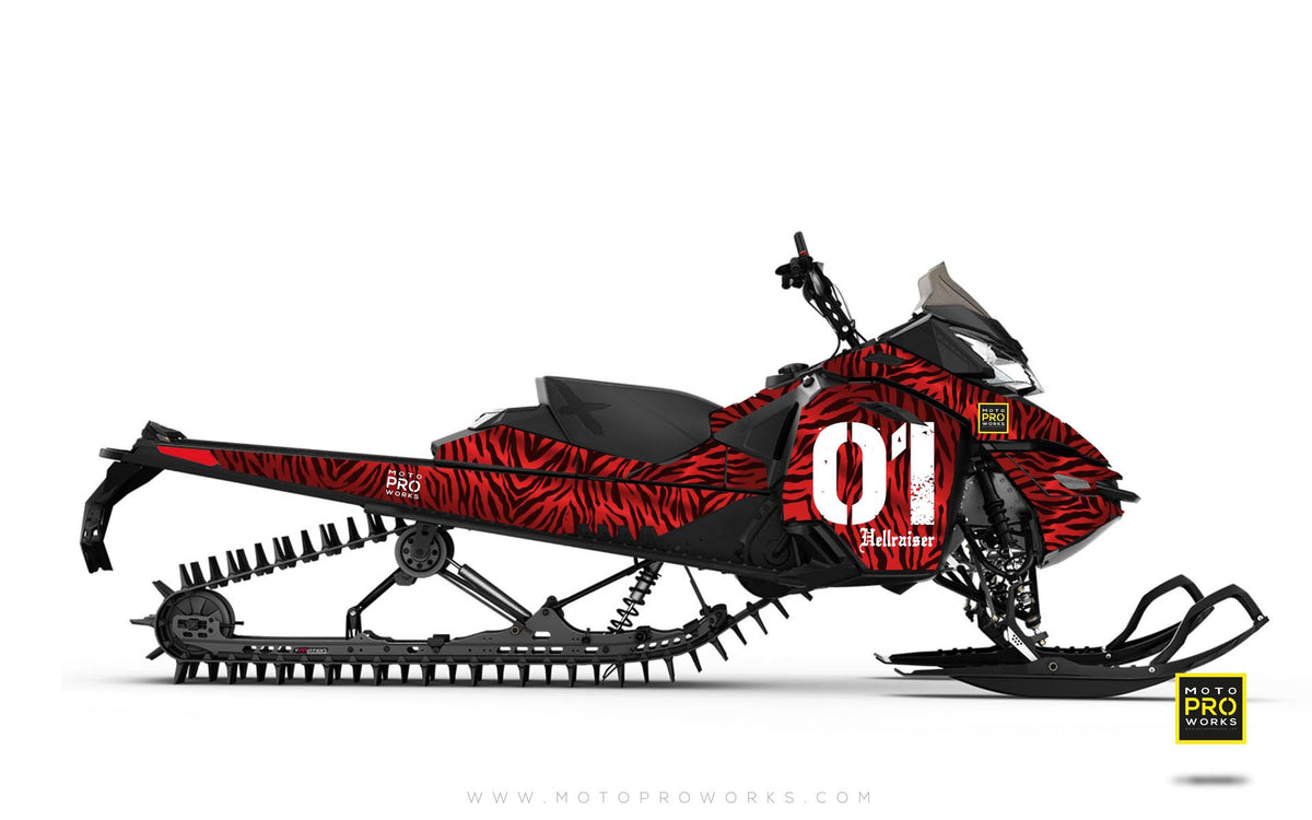 "Ski-Doo Graphics - ""Stripey"" (solid red) - MotoProWorks 