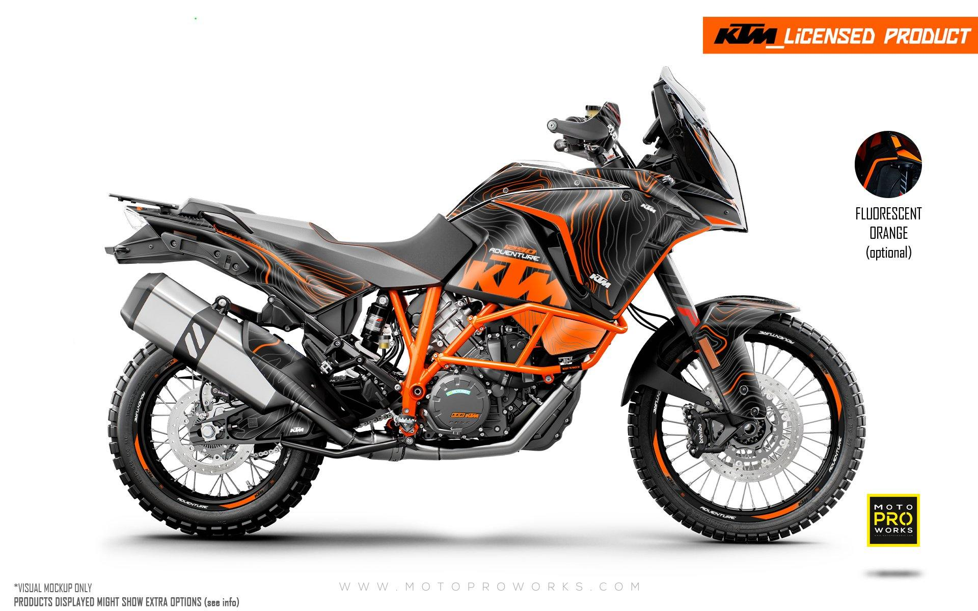 "KTM 1290 Adventure GRAPHIC KIT - ""Topography"" (Black/Orange)"