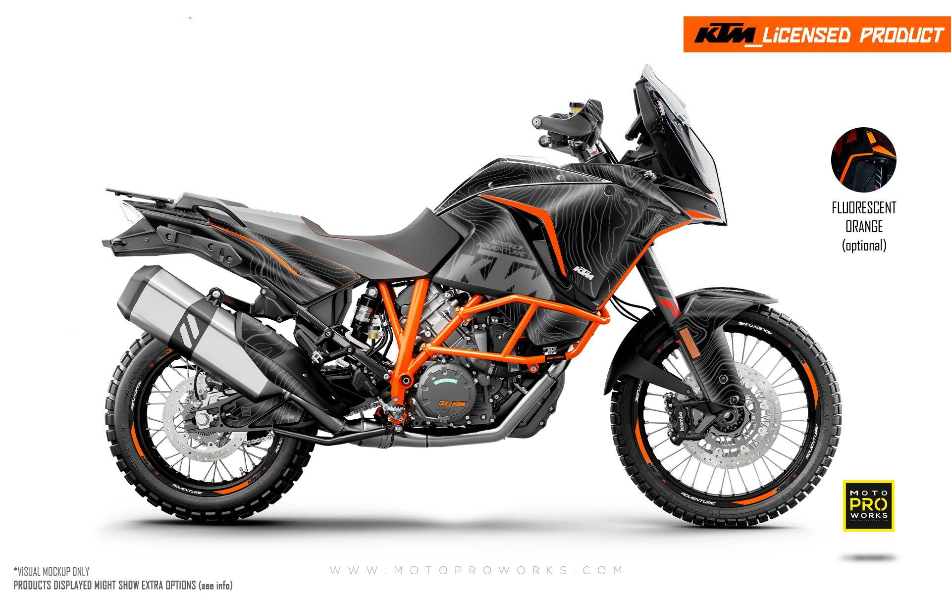 "KTM 1290 Adventure GRAPHIC KIT - ""Topography"" (Black)"