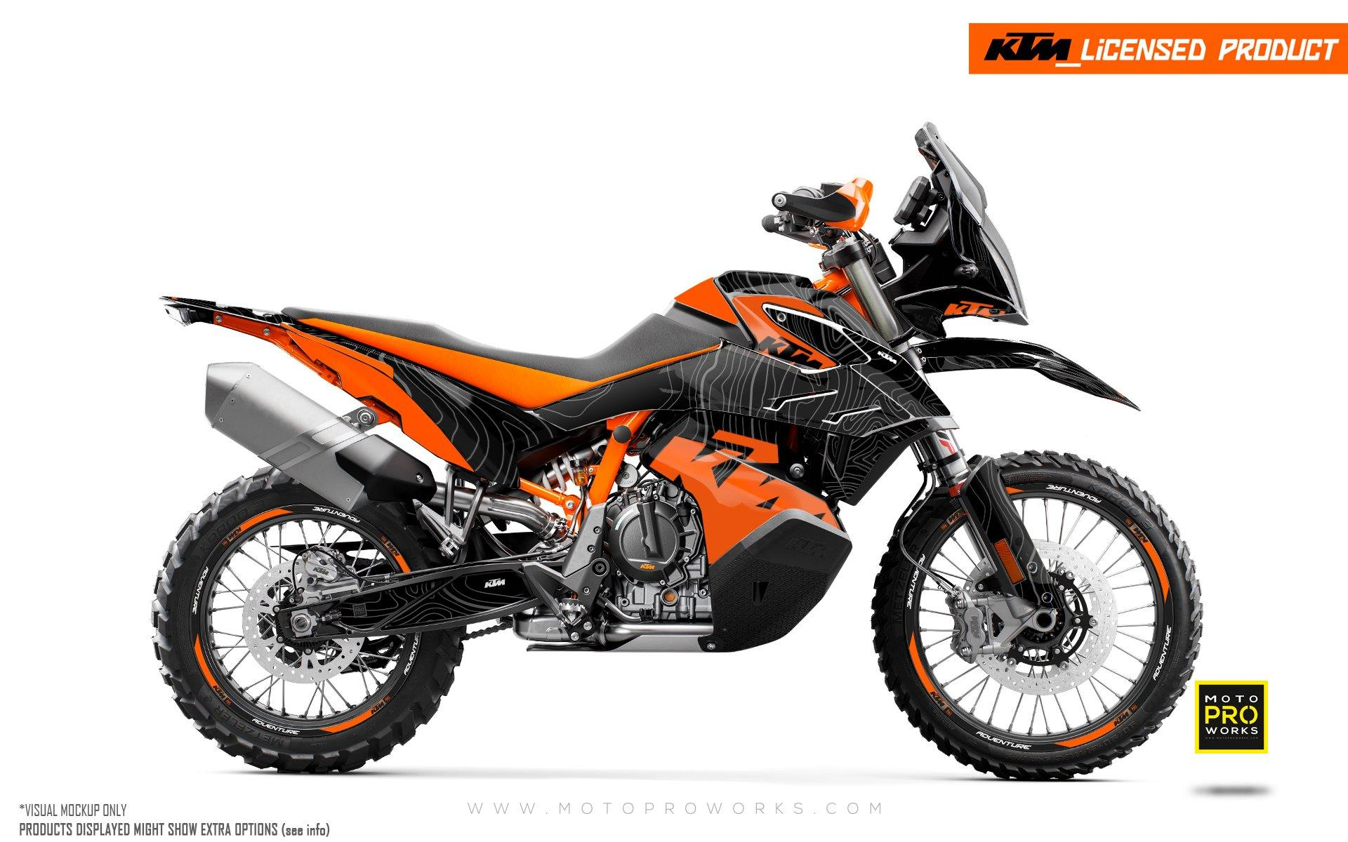 "KTM 790 Adventure R GRAPHIC KIT - ""Topography"" (Black/Orange)"