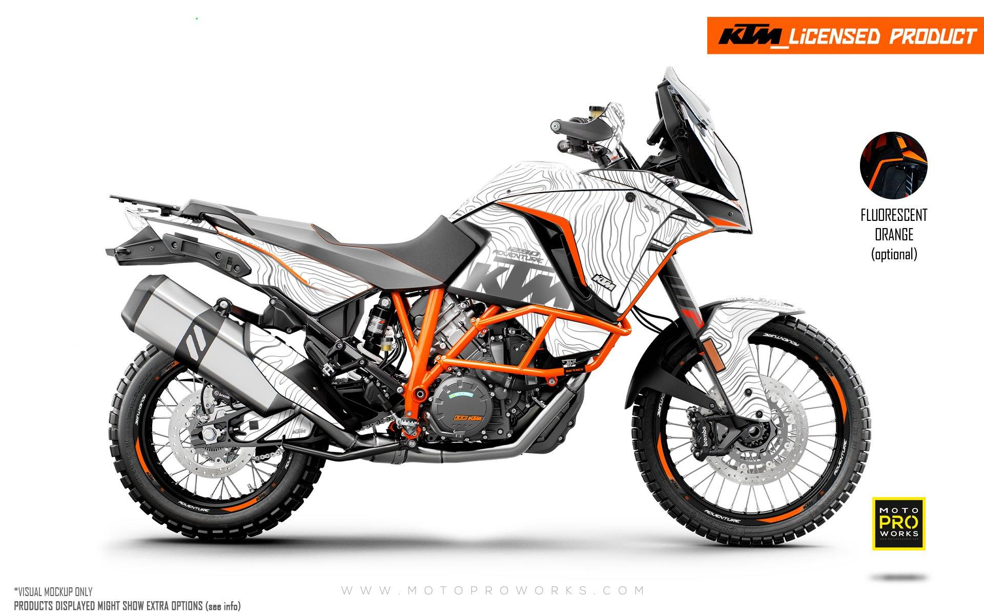 "KTM 1290 Adventure GRAPHIC KIT - ""Topography"" (White)"
