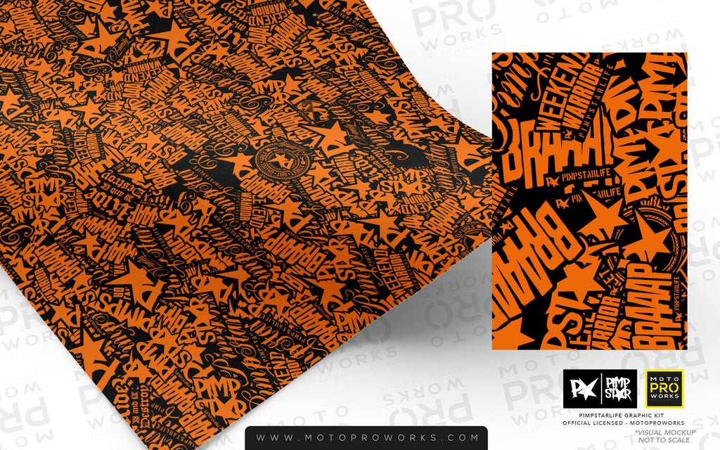 Wrap foil - Stickerbomb (orange) - MotoProWorks | Decals and Bike Graphic kit