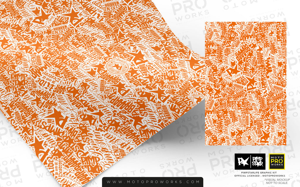 Wrap foil - Stickerbomb (orange/white) - MotoProWorks | Decals and Graphic kit