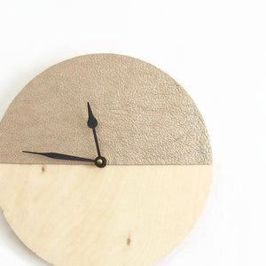 Unique Wall Clock, Champagne Leather and Wood Clock,  Unique Wall Clock, Home and Living, Home Decor, Decor and Housewares