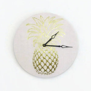 Gold Pineapple Wall Clock,  Trending Gold Foil, Home and Living, Home Decor, Decor and Housewares