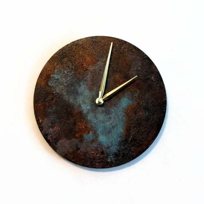 Wall Clocks, Blue Patina Art,  Wood Clocks, Industrial Chic Home Decor, Home and Living, Clocks