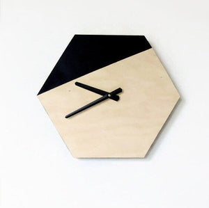 Modern Wall Clock, Wooden Hexagon Clocks, Home Decor, Home and Living. Decor and Housewares