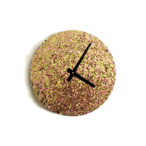 Glitter Wall Clock, Gold and Pink Glitter,  Home and Living, Decor & Housewares, Home Decor, Bedroom Clock, Unique Gift Idea