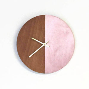 Wall Clock, Rose Gold Wood Clock, Ready To Ship, Home and Living, Home Decor