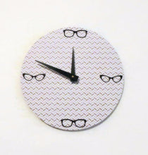 Large Wall Clock, Vintage Eye Glasses, Gold and White Home Decor, Decor and Housewares, Home and Living