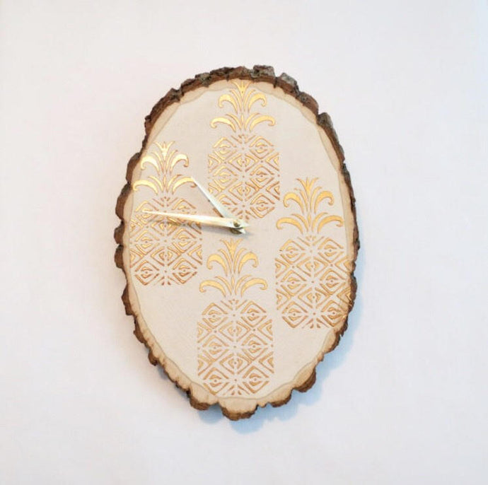 Gold Pineapple Wall Clock, Kitchen Clock,  Home Decor, Reclaimed Wood, Home and Living
