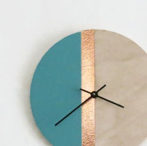 Wall Clock, Wood Clocks,  Teal and Rose Gold Copper, Housewares, Home and Living, Unique Wall Clock