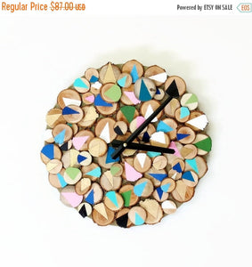 Geometric Wall Clock, Reclaimed Wood Home Decor, Decor and  Housewares, Home and Living