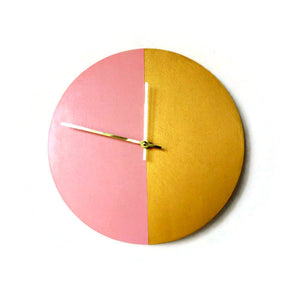 Silent Bedroom  Wall Clock, Pink and Gold Wall Clock, Wood Clock, Gift For Her, Home Decor, Home and Living