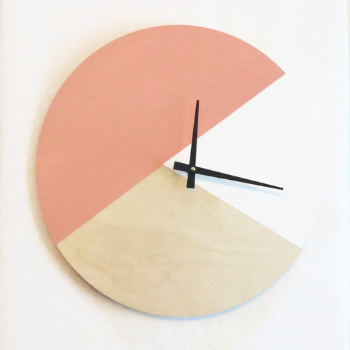 Large Wall Clock, Trending Minimalist Art,  Pink  Wood and White,  Housewares, Home and Living, Unique Wall  Clock