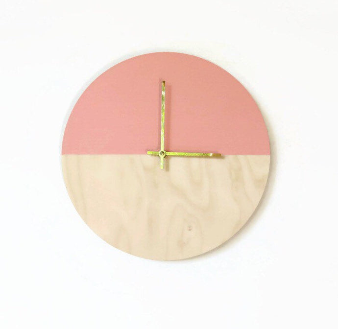 Wall Clock, Trending,  Minimalist Wall Clock, Pink and Wood,  Housewares,  Home and Living, Unique Wall Cloc