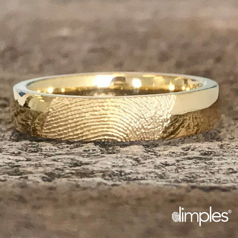 Yellow Gold Fingerprint Ring by Dimples available at DimplesCharms.com