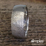 Fingerprint Wedding Band in white gold by Dimples available at DimplesCharms.com