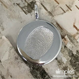 White Gold Fingerprint Charm with a Child's print by DimplesCharms.com
