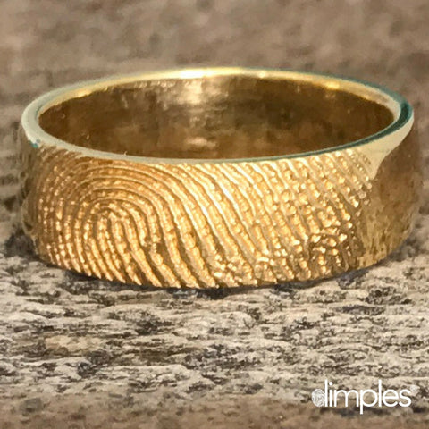 Yellow Gold Fingerprint Wedding Band by Dimples available at DimplesCharms.com