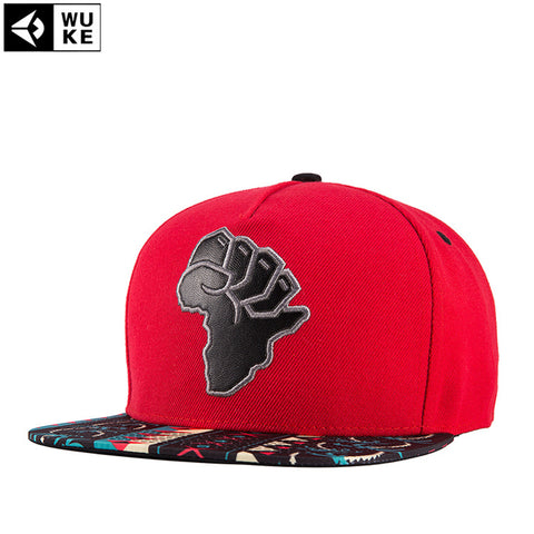 Map Of Africa Red Color Canvas Cotton Adjustable Snapback Caps High Quality