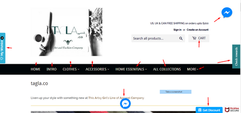 Screenshot of tagla website landing Page with arrows pointing to the shopping tools