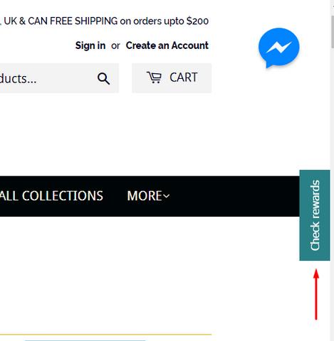 img-screenshot of site store page indicating location of the shopper loyalty rewards icon on middle top right edge of screen