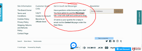 img screeshot of website footer content about using Messenger button