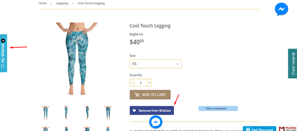 img-screenshot of product page to love-click wish list box on product page-creates a wish list icon on left side of screen