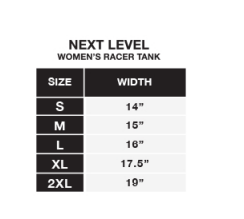 Size chart for Next Level Racerback Tank tops