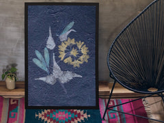 "Photograph display of 18""x24"" Pressed Dry Flower 4-blue on floor of stylish living room."