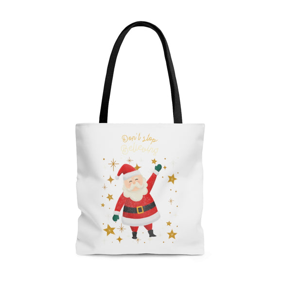 Don't Stop Believing Santa White Tote Bag (3 sizes)