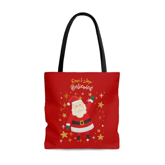 Don't Stop Believing Santa Red Tote Bag (3 sizes)