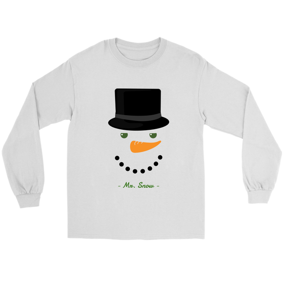 Mr. Snow Unisex Gildan Long Sleeve White Tee (Size S-5XL)