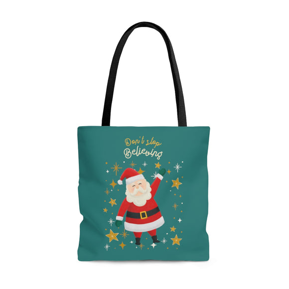 Don't Stop Believing Santa Blue Tote Bag (3 sizes)