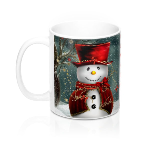 Snowman and Garland 11 ounce Ceramic Mug