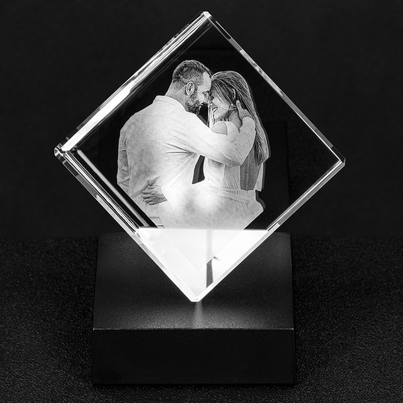 Personalized Crystal Cube - Cut-Corner Cube (Optional Base)--Gift Idea!