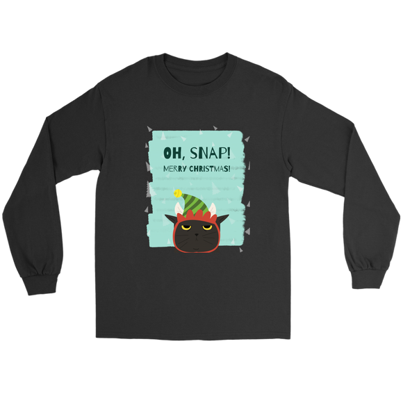 Oh, Snap! Black Kitten's Merry Christmas Unisex Gildan Long Sleeve Black Tee (Size S-5XL)