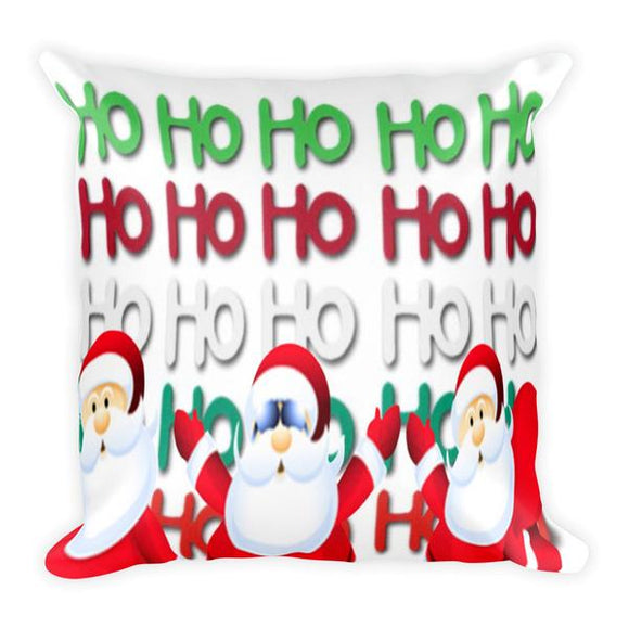 HO HO HO Santas Pillow photograph.  Puffed up front view of pillow. Full Price $25.00