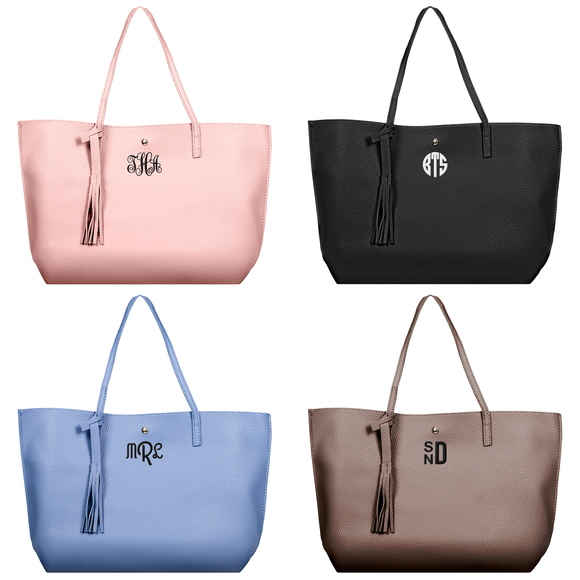 Monogram Ladies Faux Leather Handbags - 4 Color Choices