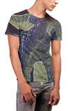 Hispanic male model wearing Molds American Apparel Men's PL401W Short Sleeve T-shirt with jeans. (Shirt costs $36.50-$38.50; size range XS-2XL)