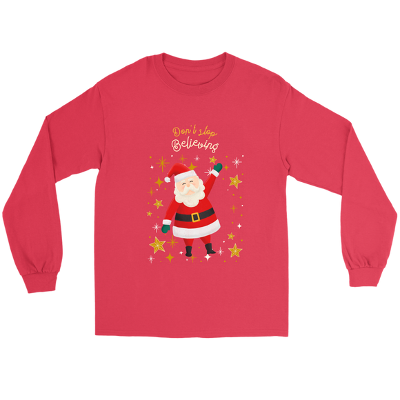 Don't Stop Believing Santa Unisex Gildan Long Sleeve Red Tee (Size S-5XL)