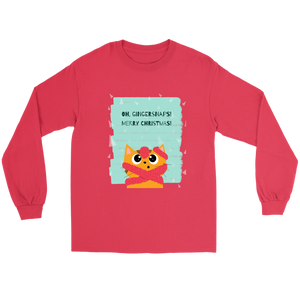 Oh, Gingersnaps! Merry Christmas Bundle Unisex Gildan Long Sleeve Red Tee (Size S-5XL)