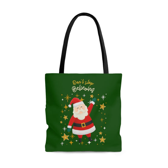 Don't Stop Believing Santa Tote Bag (3 sizes)