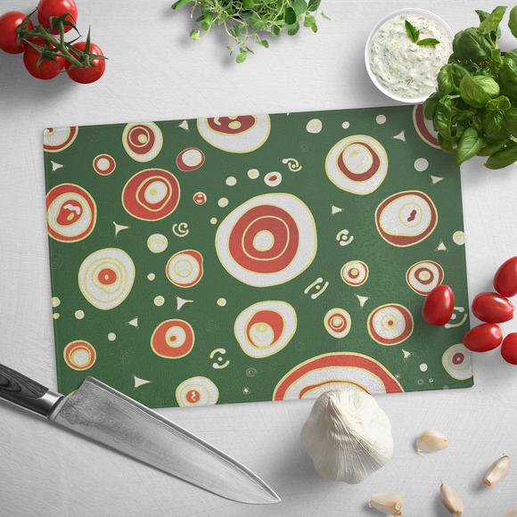 Geo Christmas Tempered Glass Cutting Board